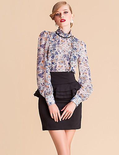 TS Print Chiffon Stand Collar Ruffle Bluse Shirt