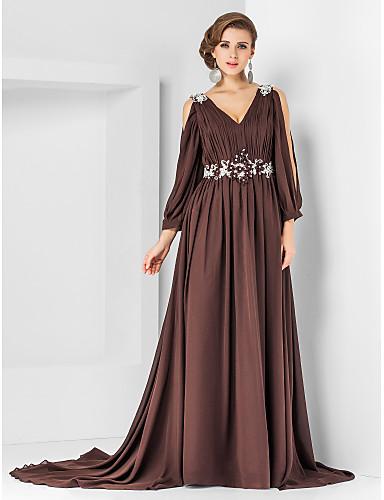A-Linie / Prinzessin V-Ausschnitt Hof Schleppe Chiffon Formeller Abend Kleid mit Perlenstickerei / Applikationen / Drapiert durch TS Couture®