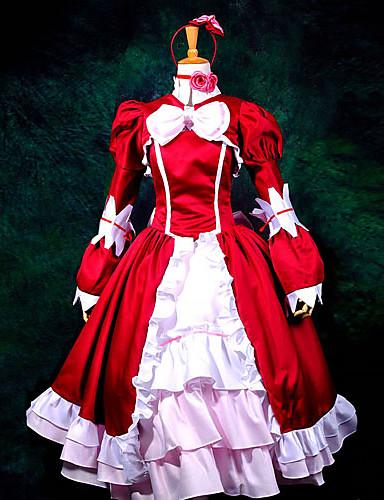 """billige Anime cosplay-Inspirert av Svart Tjener Elizabeth Anime  """"Cosplay-kostymer"""" Cosplay Klær / Kjoler Lapper Langermet Halsklut / Kjole / Sjal Til Dame / Satin"""