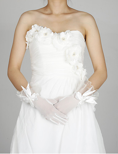 Tull coude Gants Longueur Flower Girl With Bow