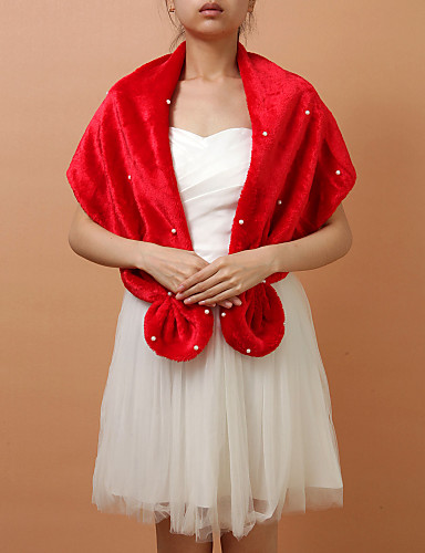 Fashion Faux Fur Evening Party /Wedding Shawl/Wraps With Pearls(More Colors)