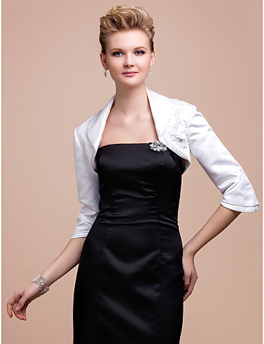 Satin Party Evening Wedding  Wraps With Sequin Appliques Embroidery Coats / Jackets