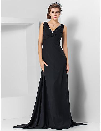 Eng anliegend V-Ausschnitt Pinsel Schleppe Chiffon Formeller Abend / Militär Ball Kleid mit Perlenstickerei durch TS Couture®