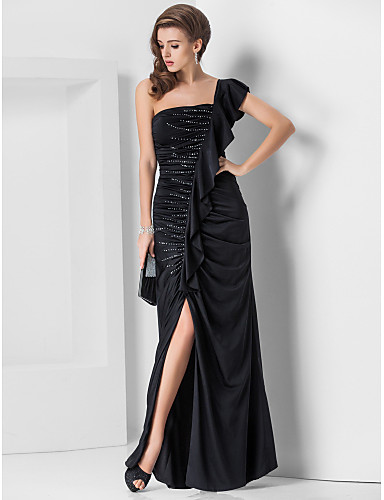 TS Couture® Formal Evening / Military Ball Dress - Elegant Plus Size / Petite Sheath / Column One Shoulder Floor-length Jersey with Beading / Side