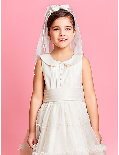 To-lags skulder Wedding blomsterpike Veil Med Lace / Satin Bow