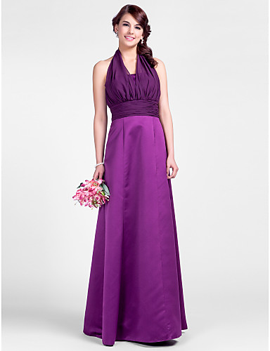 7b0466a8a1bf A-Line Princess Halter Floor Length Chiffon Bridesmaid Dress with Draping  Ruched by 544066 2019 – $119.99