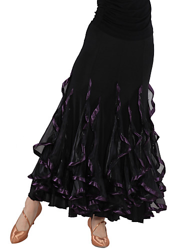 Dancewear Viscose and Tulle Latin Dance Skirt For Ladies