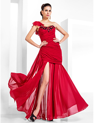 Trompetă / Sirenă Pe Umăr Lungime Podea Șifon Seară Formală / Bal Militar Rochie cu Mărgele Eșarfă/Panglică de TS Couture®