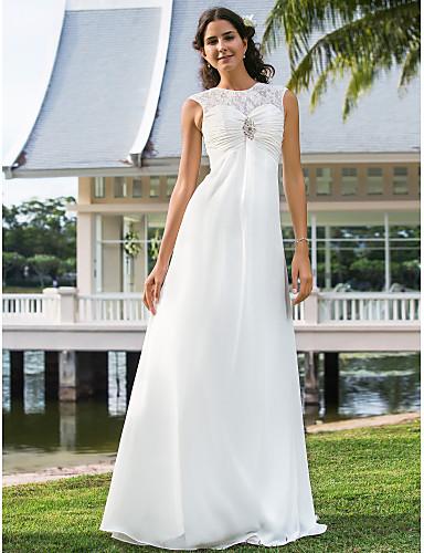 Pouzdrové Illusion Neckline Na zem Šifón Svatební šaty s Nabírané Květinovo křišťálový špendlík podle LAN TING BRIDE®