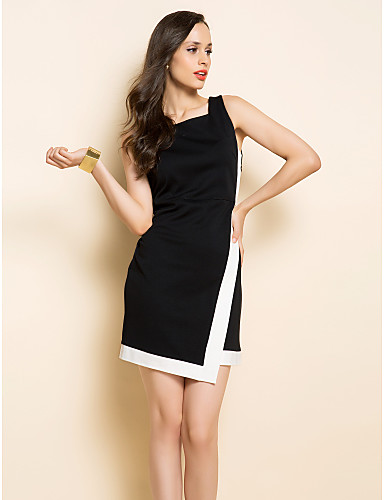 TS White And Black Sleeveless Dress