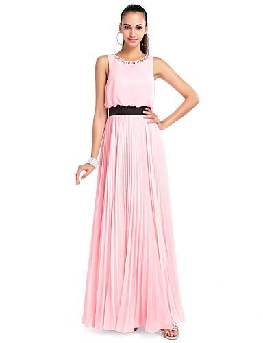 A-Şekilli Taşlı Yaka Yere Kadar Şifon Kristal Detaylar Pileler ile Balo / Resmi Akşam / Düğün Partisi Elbise tarafından TS Couture®