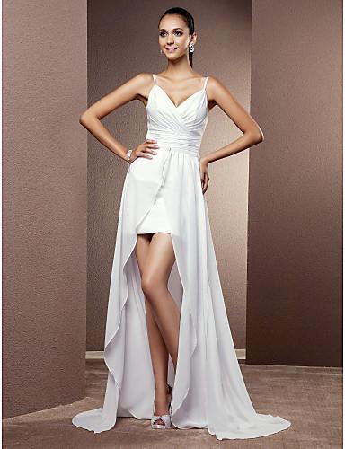 Tubinho Decote V Assimétrico Chiffon Vestido de casamento com Cruzado Franzido de LAN TING BRIDE®