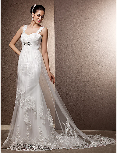 Sheath / Column Straps Court Train Tulle Wedding Dress with Beading Appliques Sash / Ribbon by LAN TING BRIDE®