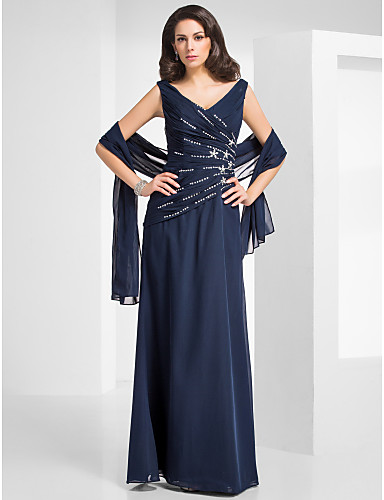 Sheath / Column V Neck Floor Length Chiffon Formal Evening / Military Ball Dress with Beading Criss Cross by TS Couture®
