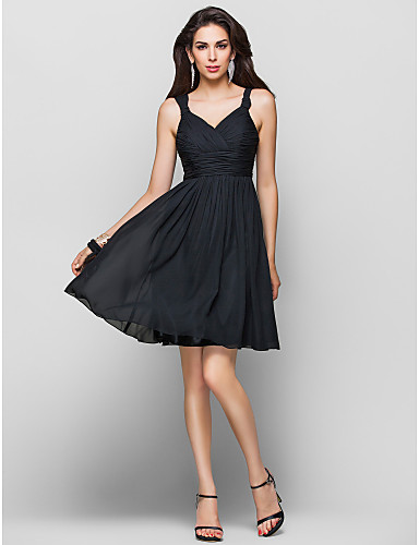 A-Line Princess Straps Knee Length Chiffon Cocktail Party Homecoming Dress with Draping Ruched Criss Cross by