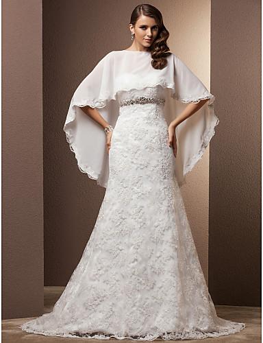 A sirena A cuore Strascico di corte Chiffon Di pizzo Abiti da sposa personalizzati con Cristalli Bottoni di LAN TING BRIDE®