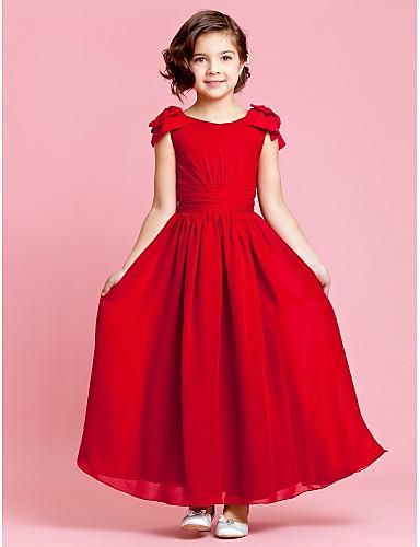 A-line kotník délka kotníku květina dívka šaty - šifón bez rukávů šperk krk lan ting bride®