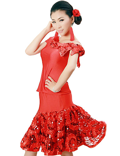 Latin Dance Outfits Women's Training Viscose Flower(s) Sequins Natural
