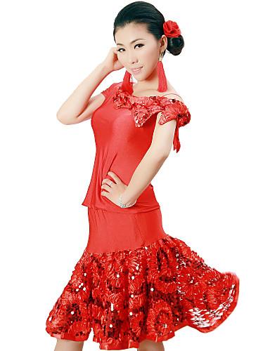 Latino ples Outfits Žene Trening Viskoza Šljokice Cvijet Prirodno