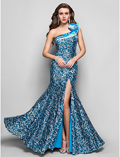 Formeller Abend / Militär Ball Kleid - Blau Mit Paillette - Meerjungfrau-Linie / Mermaid-Stil - bodenlang - 1-SchulterÜbergröße /