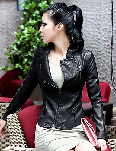 moda magro stand-gola da jaqueta de couro curta