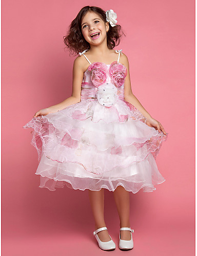 A-Line Ball Gown Princess Knee Length Flower Girl Dress - Lace Satin Tulle Sleeveless Spaghetti Straps with Flower(s) by