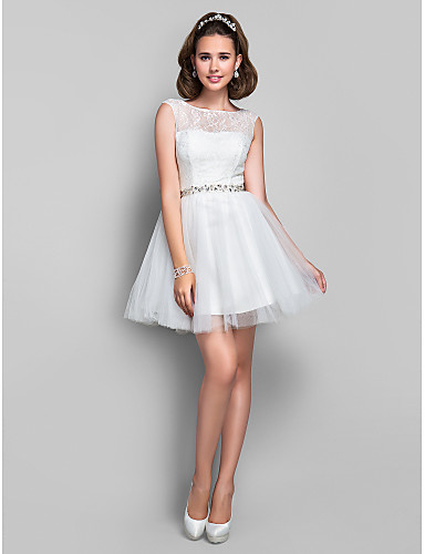 A-Line Princess Fit & Flare Illusion Neckline Short / Mini Lace Tulle Cocktail Party Dress with Crystal Detailing Lace by TS Couture®