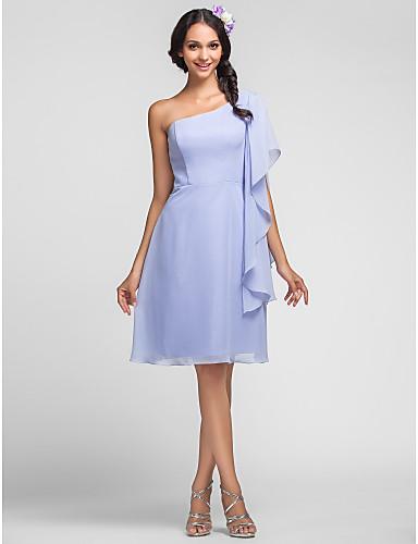 Sheath / Column One Shoulder Knee Length Chiffon Bridesmaid Dress with Cascading Ruffles by LAN TING BRIDE®