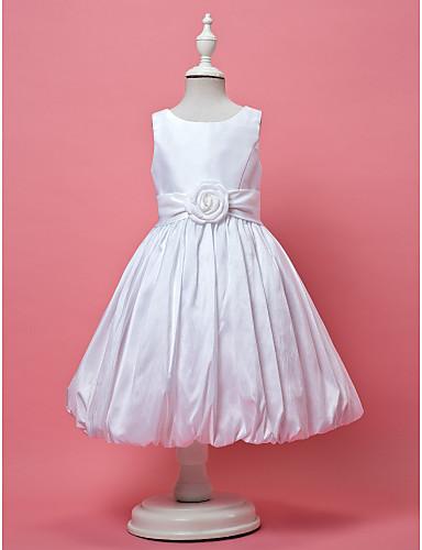 A-Şekilli / Prenses Taşlı Yaka Diz Boyu Tafta Drape / Kurdeleler / Çiçekli ile Çiçekçi Kız Elbisesi tarafından LAN TING BRIDE®