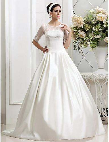 A-Linie / Princess Klenot Velmi dlouhá vlečka Satén / Tyl Svatební šaty vyrobené na míru s Korálky / Sklady / Knoflík podle LAN TING BRIDE® / Iluze / Průsvitné