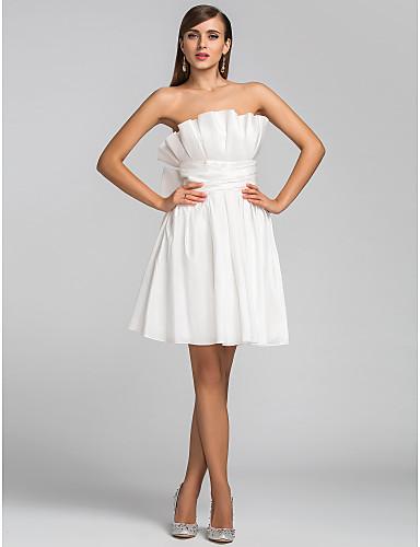 A-Şekilli Straplez Kısa / Mini Tafta Fiyonk Kırma Dantel Fırfırlı ile Düğün Partisi Elbise tarafından TS Couture®