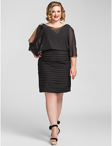 15a7fc01361 Plus Size Sheath   Column V Neck Knee Length Chiffon Cocktail Party    Holiday Dress with Beading   Ruched by TS Couture®   Little Black Dress