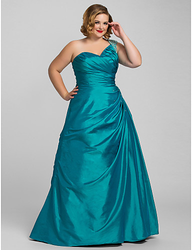 f9f84179971 Plus Size A-Line One Shoulder Floor Length Taffeta Prom   Formal Evening  Dress with Beading   Side Draping by TS Couture®
