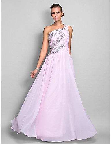 Sheath / Column One Shoulder Floor Length Chiffon Prom / Formal Evening Dress with Beading / Ruched by TS Couture® / Sparkle & Shine