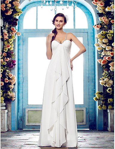 Sheath / Column Spaghetti Strap Floor Length Chiffon Made-To-Measure Wedding Dresses with Beading / Side-Draped by LAN TING BRIDE®