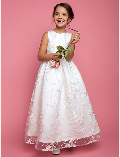af88f63e95c A-Line   Princess Floor Length Flower Girl Dress - Lace Sleeveless Jewel  Neck with Sash   Ribbon by LAN TING BRIDE® 733986 2019 –  60.00