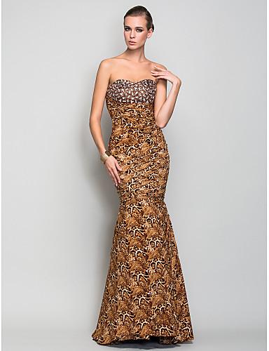 Sirena / truba draga srca duljina pramenova Charmeuse večernja haljina s beading po ts couture®