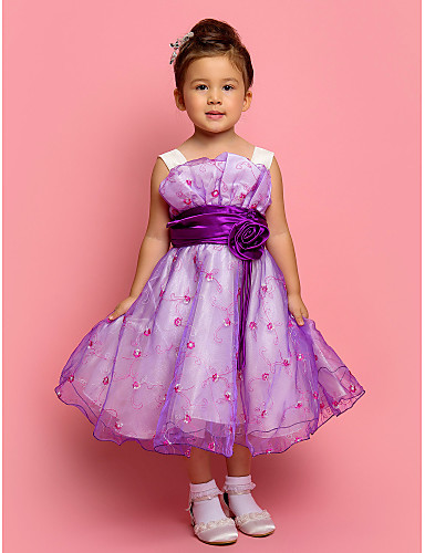 A-line/Ball Gown/Princess Knee-length Flower Girl Dress - Tulle/Polyester Sleeveless