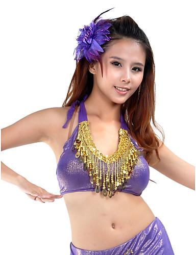 Göbek Dansı Üstler Kadın's Eğitim Polyester Boncuklama / Payet / Balo Salonu
