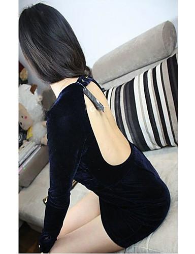 Fashiongirl ženských Low Cut hlubokým výstřihem Hip balení modré šaty