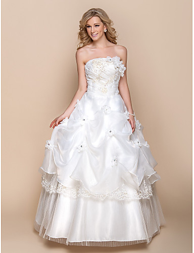 Plesové šaty Bez ramínek Na zem Organza Svatební šaty s Korálky Aplikace Nabíraná sukně Květiny podle LAN TING BRIDE®