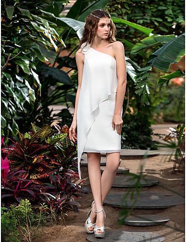 Sütun Tek Omuz Kısa / Mini Şifon Çiçekli ile Kıyafetli Gelinlikler tarafından LAN TING BRIDE® / Küçük Beyaz Elbiseler