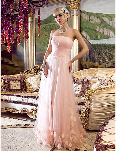 Eng anliegend Trägerlos Boden-Länge Tüll Abiball / Formeller Abend Kleid mit Überkreuzte Rüschen / Gerafft durch TS Couture®