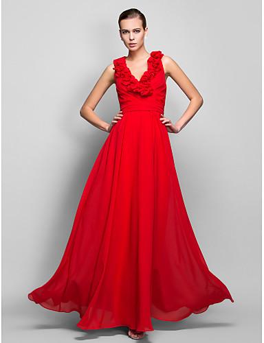 Sheath / Column V Neck Floor Length Chiffon Prom Formal Evening Military Ball Dress with Sash / Ribbon Ruffles Criss Cross by TS Couture®