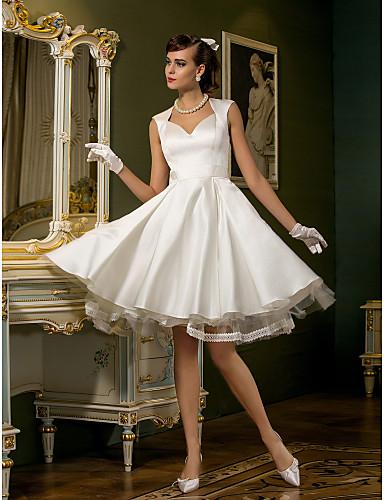 ee08a7c3c55d Γραμμή Α Καρδιά Μέχρι το γόνατο Σατέν   Τούλι Φορέματα γάμου φτιαγμένα στο  μέτρο με Δαντέλα   Κουμπί με LAN TING BRIDE®   Μικρά Άσπρα Φορέματα 788833  2019 – ...