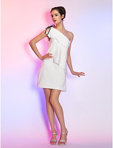 abordables Robes de Fête-Fourreau / Colonne Une Epaule Courte / Mini Satin Elastique Robe avec Noeud(s) / Détail Perle / Volants par TS Couture®