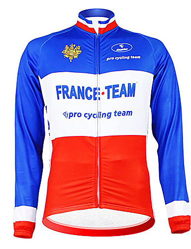 cheap Cycling Clothing-Malciklo Men's Long Sleeve Cycling Jersey - Blue+Red France Champion National Flag Bike Jersey Top Thermal / Warm Fleece Lining Breathable Sports Winter Polyester Fleece Mountain Bike MTB Road Bike