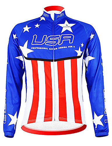 cheap Cycling Clothing-Malciklo Men's Long Sleeve Cycling Jersey Champion National Flag Bike Jersey Top Thermal / Warm Fleece Lining Breathable Sports Winter Polyester Fleece Mountain Bike MTB Road Bike Cycling Clothing