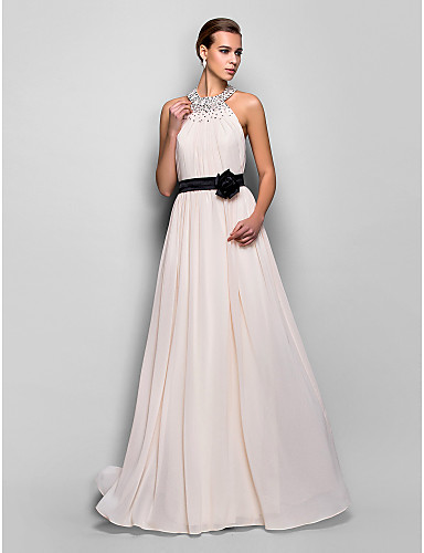 A-Line Halter Floor Length Georgette Formal Evening / Military Ball Dress with Sash / Ribbon Flower by TS Couture®