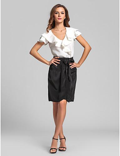 LAN TING BRIDE Knee-length V-neck Bridesmaid Dress - Color Block Short Sleeve Satin